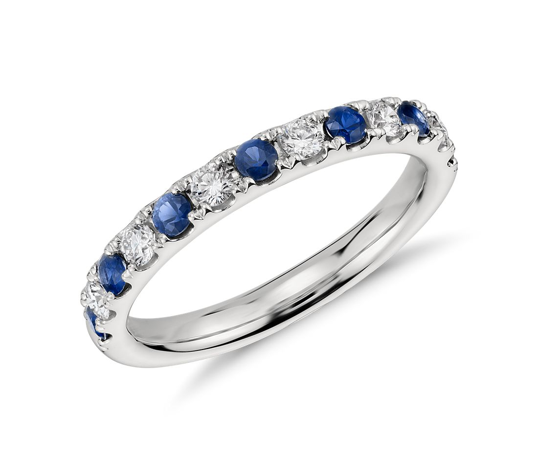 Pave Sapphire and Diamond Ring in Platinum