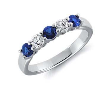 Five-Stone Sapphire and Diamond Ring