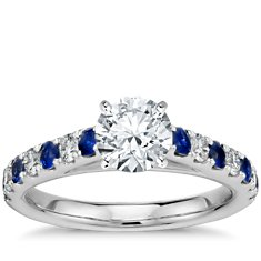 Cathedral Pavé Sapphire and Diamond Engagement Ring in Platinum