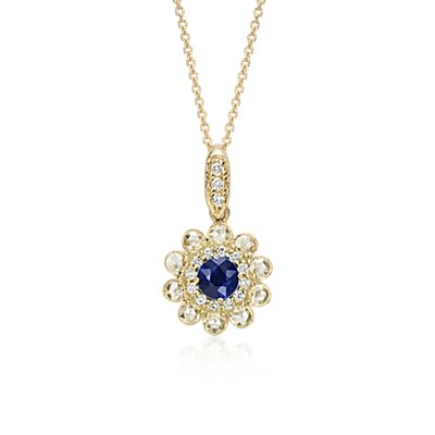 Sapphire and Diamond Rose Cut Floral Pendant in 18k Yellow Gold (5mm)
