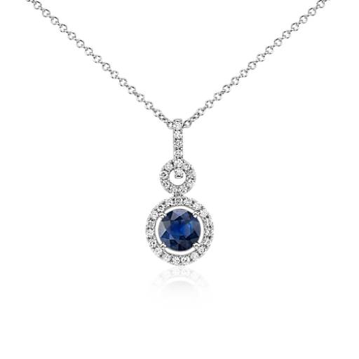 Floating Sapphire and Diamond Round Twisted Pavé Pendant in 14k White Gold