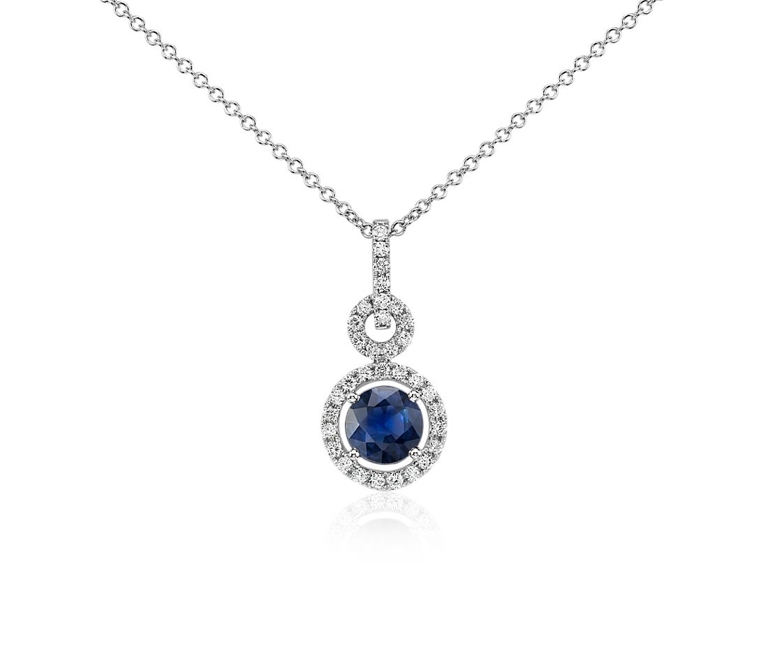 Floating Sapphire and Diamond Round Twisted Pave Pendant in 14k White Gold