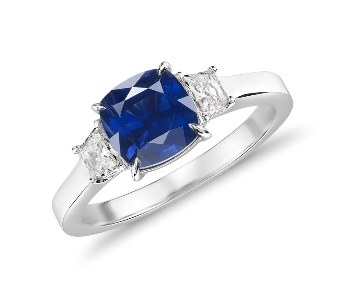 Sapphire and Diamond Three-Stone Ring in 18k White Gold (1.42 ct.)