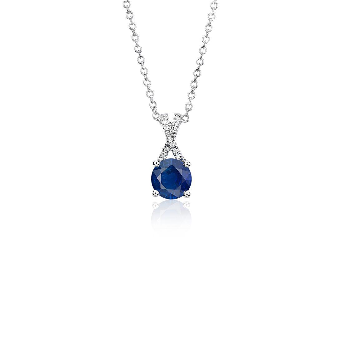 Sapphire and Diamond Twist Pendant in 14k White Gold