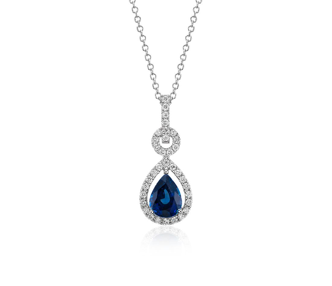 Floating Sapphire and Diamond Pear Pendant in 14k White Gold (8x6)