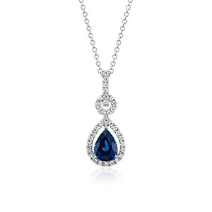 Floating Sapphire and Diamond Pear Pendant in 14k White Gold (8x6mm)
