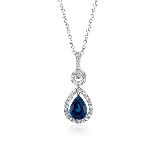 Colgante de diamantes y zafiro con forma de pera montado al aire en oro blanco de 14k (8x6mm)