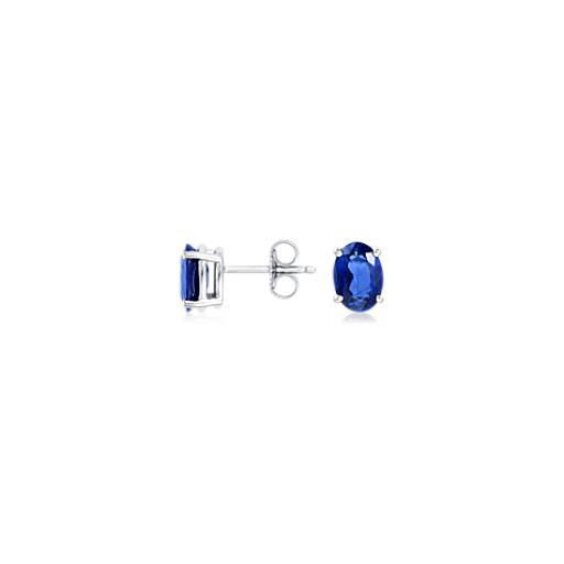 Oval Sapphire Earrings in 18k White Gold (7x5mm)