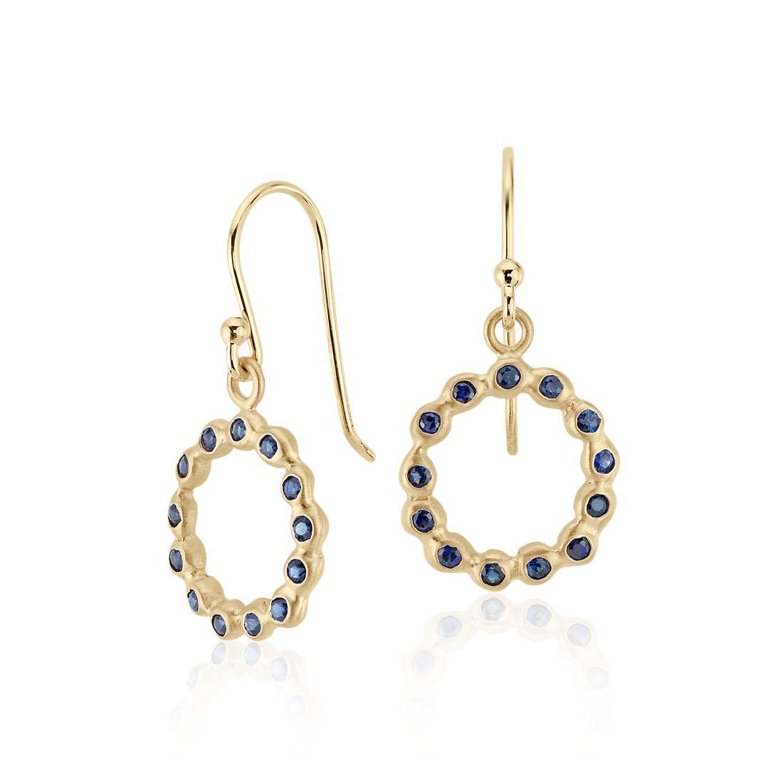 Sapphire Bezel Circle Drop Earring in 18k Yellow Gold