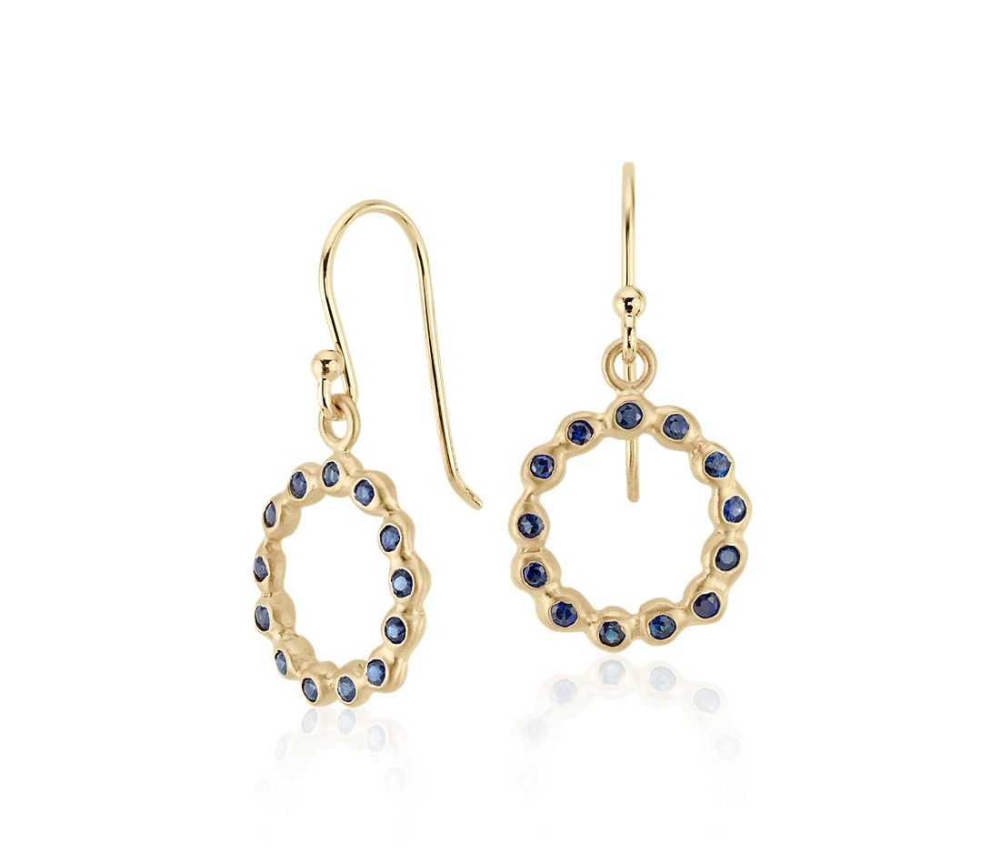 Sapphire Bezel Circle Drop Earring in 18k Yellow Gold