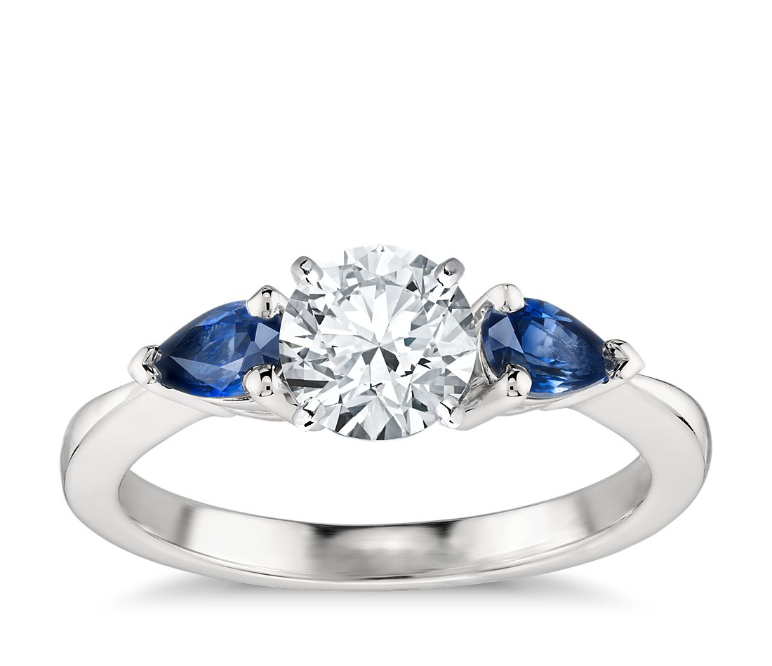 Classic Pear Shaped Sapphire Engagement Ring Setting In