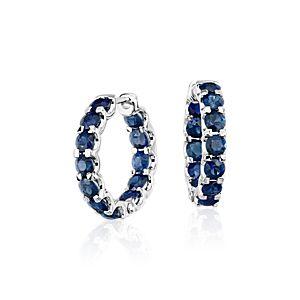 Sapphire Hoop Earrings in 14k White Gold (3mm)