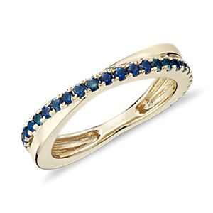 Sapphire Infinity Eternity Ring in 14k Yellow Gold (1.5mm)