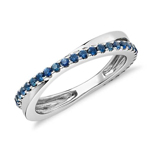 Sapphire Infinity Eternity Ring in 14k White Gold