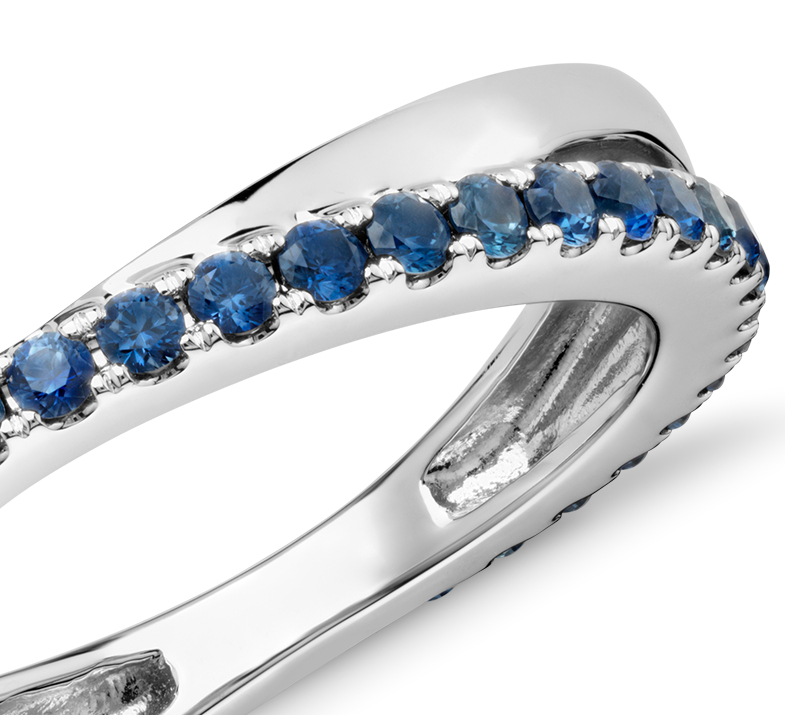 Sapphire Infinity Eternity Ring in 14k White Gold (1.5mm)