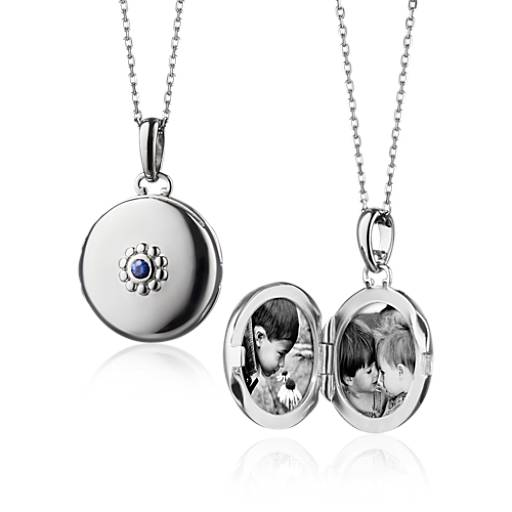 Monica Rich Kosann Petite Sapphire Locket in Sterling Silver (2mm)