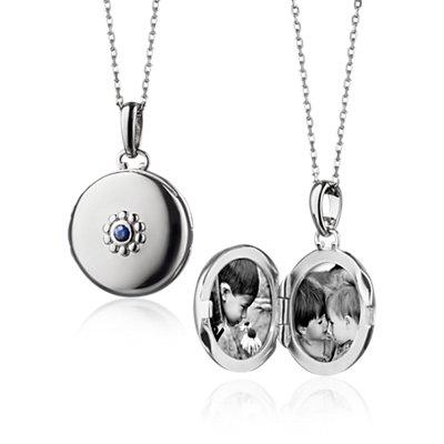Monica Rich Kosann Petite Sapphire Locket in Sterling Silver (2mm)