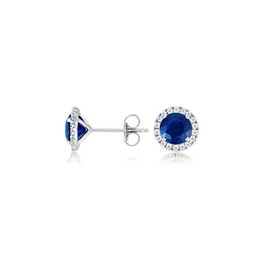 Micropavé Diamond and Sapphire Earrings in 18k White Gold (6 mm)