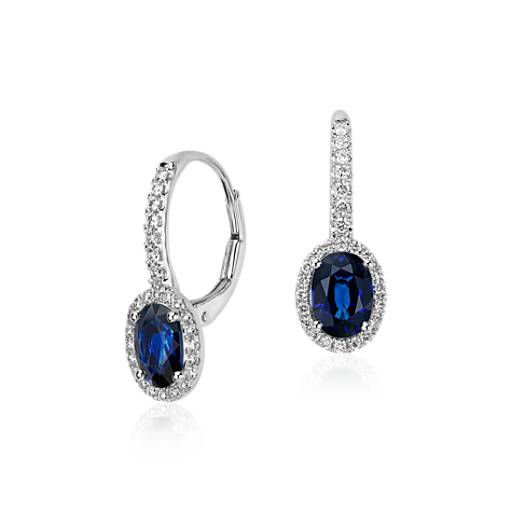 Sapphire and Micropavé Diamond Halo Earrings in 14k White Gold (7x5mm)