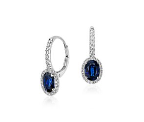 Sapphire and Micropavé Diamond Halo Earrings in 14k White Gold (7x5  mm)
