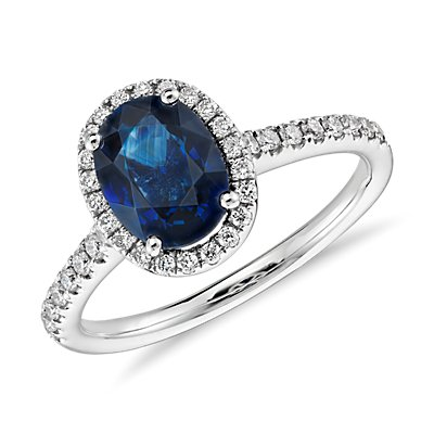 NEW Sapphire and Micropavé Diamond Halo Ring in 14k White Gold (8x6mm)