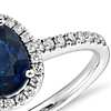 Sapphire and Micropavé Diamond Halo Ring in 14k White Gold (8x6 mm)