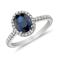 Bague diamants sertis micro-pavé et saphir bleu en Or blanc 14 ct (8x6 mm)