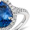 Sapphire and Micropavé Diamond Halo Ring in Platinum (5.23 ct center) (11.8x8.9mm)