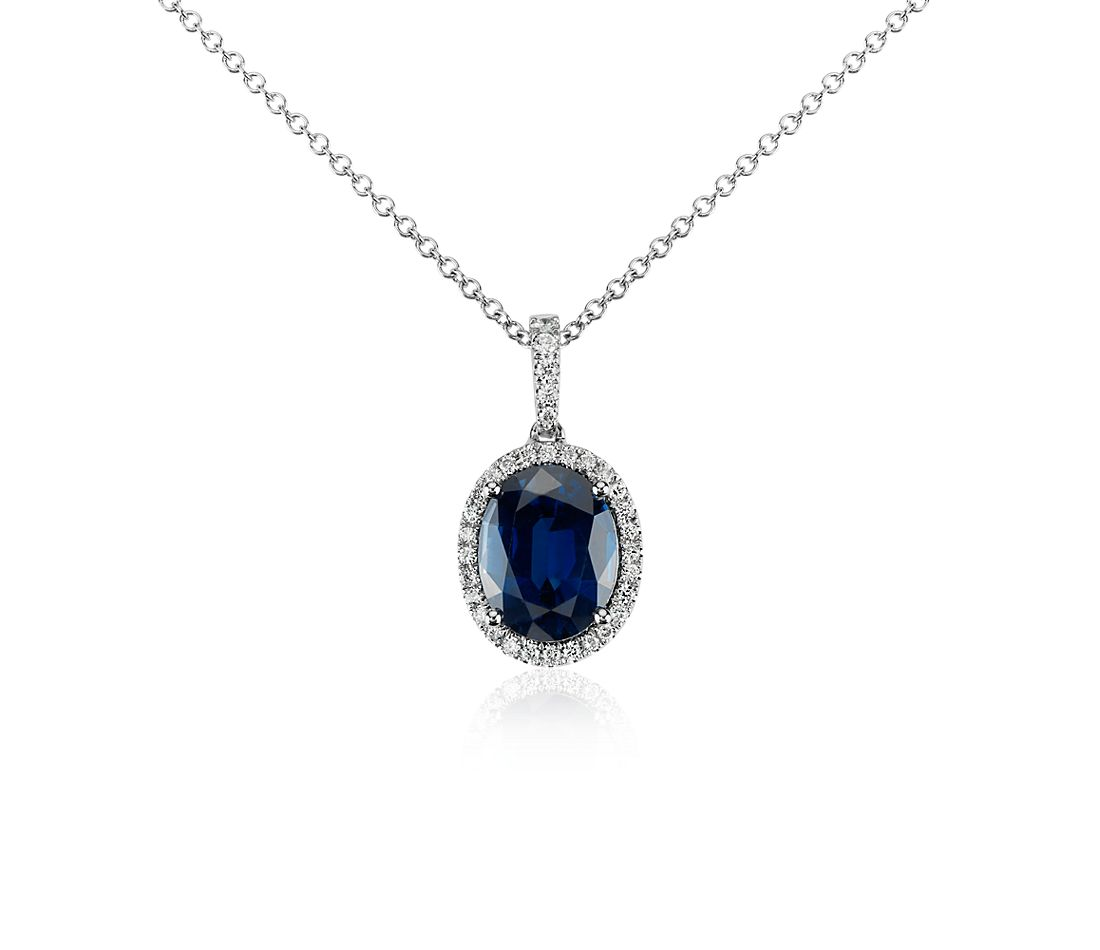 Sapphire and Micropavé Diamond Pendant in 18k White Gold (10x8mm)