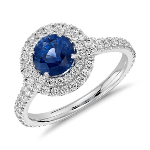 Sapphire and Diamond Pavé Double Halo Ring in 18k White Gold (0.83ct)