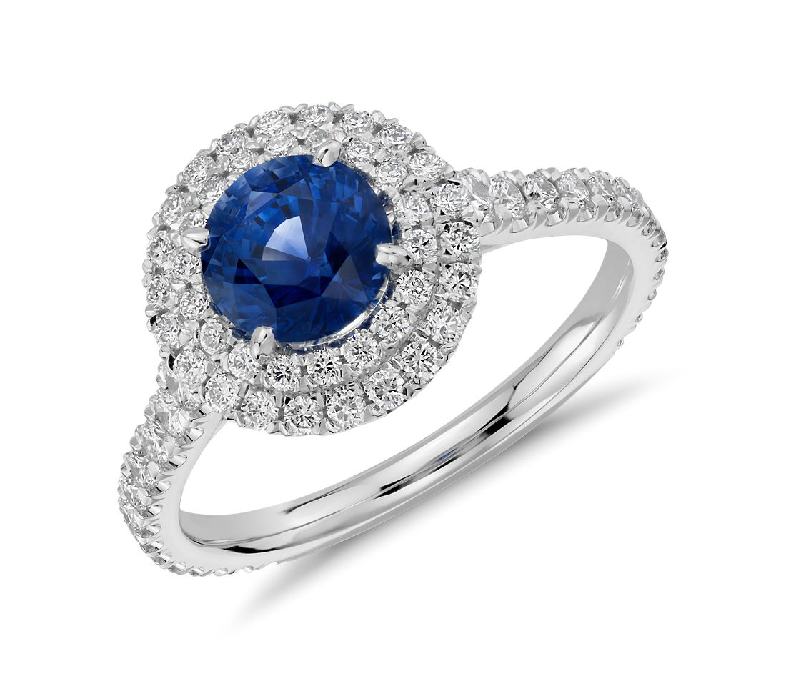 Sapphire and Diamond Pavé Double Halo Ring in 18k White Gold (1.17 ct)