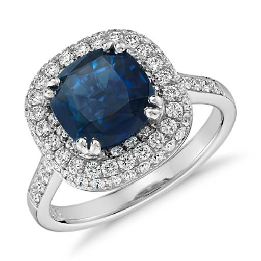 Cushion Sapphire Trio Pavé Halo Diamond Ring in Platinum (3.66 ct. center)
