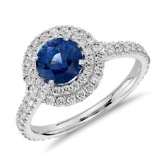 Sapphire and Diamond Pavé Double Halo Ring in 18k White Gold (1.28 ct)