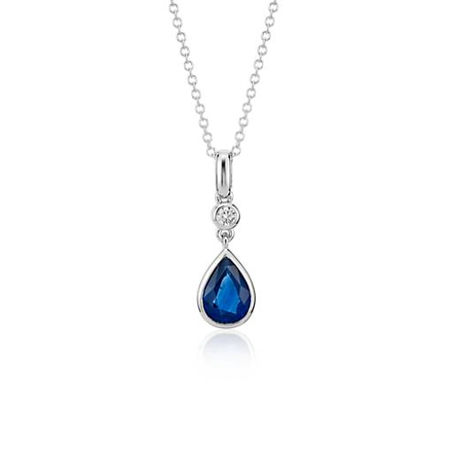 Sapphire and Diamond Pear Bezel-Set Pendant in 14k White Gold (8x6)