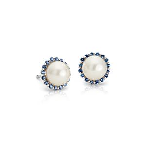 Sapphire and Freshwater Cultured Pearl Halo Stud Earrings in 14k White Gold (7mm)