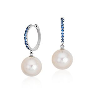 Sapphire and Freshwater Cultured Pearl Hoop Earrings in 14k White Gold (9.5mm)