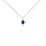 Oval Sapphire Pendant in 18k White Gold (7x5mm)