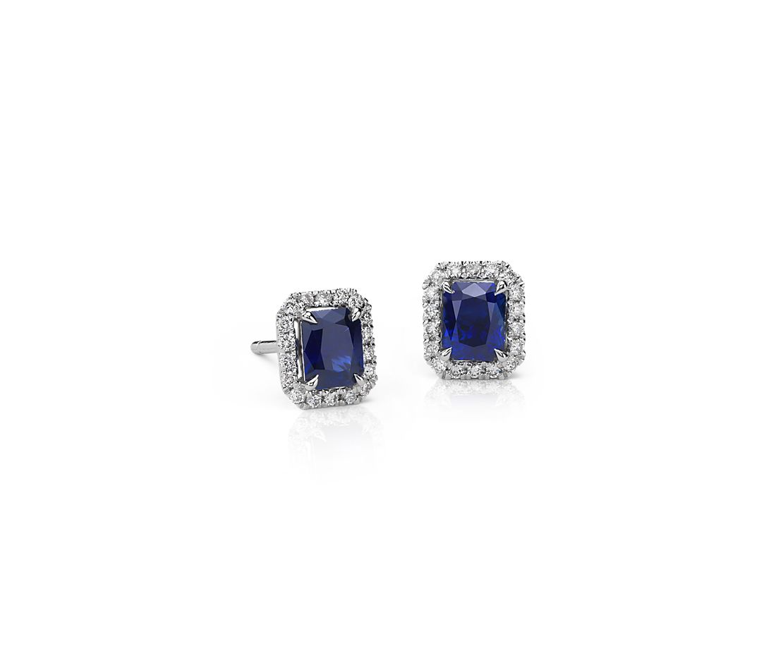 Radiant Sapphire and Diamond Stud Earrings in 14k White Gold