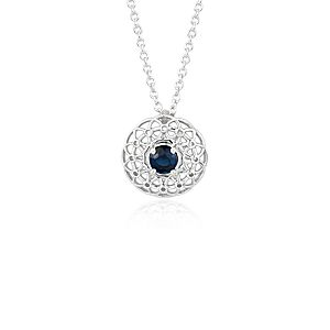 Angela George Sapphire Woven Halo Pendant in Sterling Silver (4.5mm)