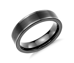 Satin Finish Wedding Ring in Black Tungsten Carbide (6mm)