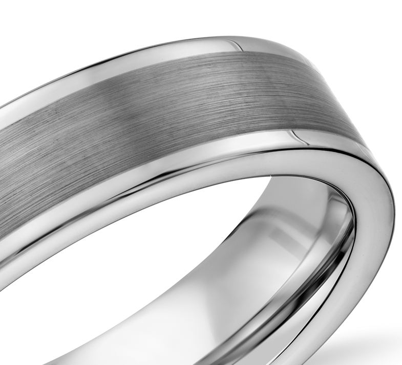 Satin Finish Wedding Ring in Gray Tungsten Carbide (6mm)