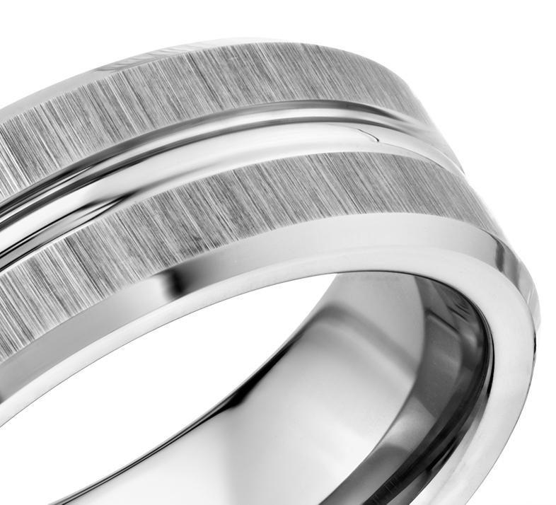 Satin Finish Wedding Ring in Classic Gray Tungsten Carbide (8mm)