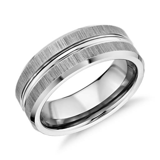 Satin Finish Wedding Ring in Classic Gray Tungsten Carbide (8mm)