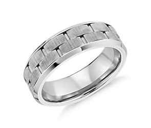 Satin Finish Wedding Ring in White Tungsten Carbide (7mm)