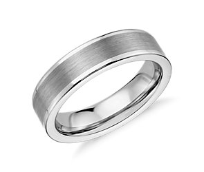 Satin Finish Wedding Ring in White Tungsten Carbide (6mm)