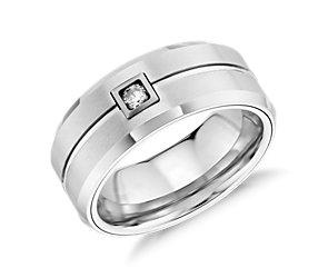 Satin Finish Wedding Ring in White Tungsten Carbide (9mm)