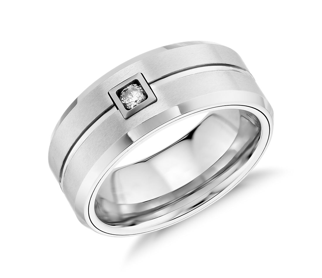 Satin Finish Wedding Ring in White Tungsten Carbide (9mm)