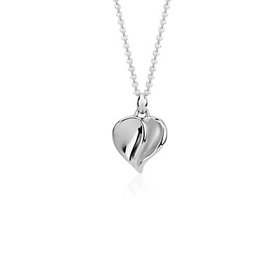Satin Heart Pendant in Sterling Silver