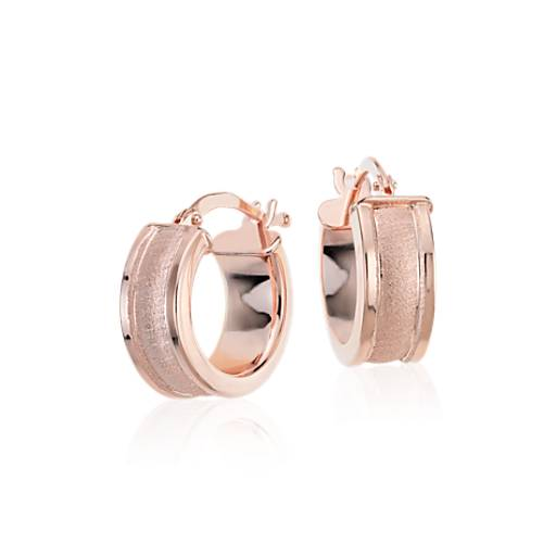 Satin Hoop Earrings in Rose Gold Vermeil
