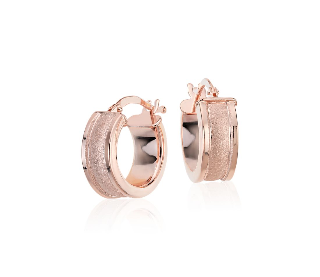 "Satin Hoop Earrings in Rose Gold Vermeil (9/16"")"